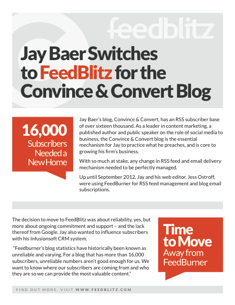 Case study collateral for FeedBlitz Jay Baer