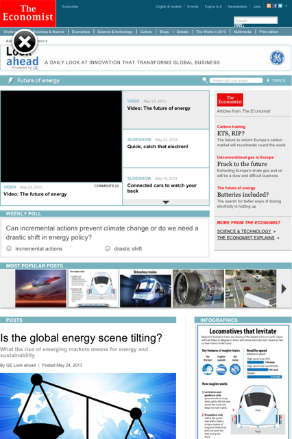 GE native advertising page under Economist masthead