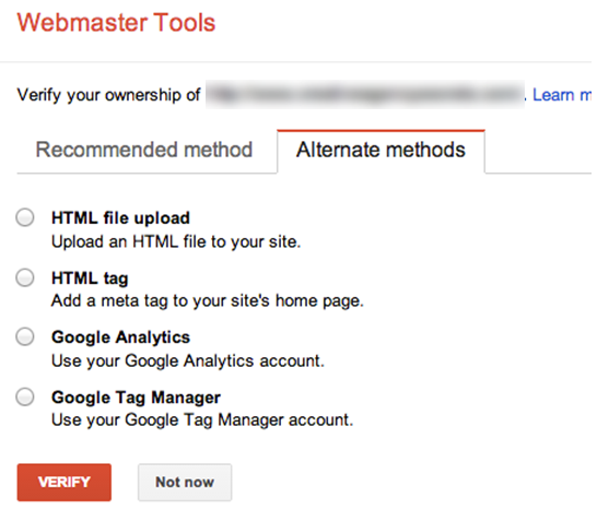 Google Webmaster Tools Verification