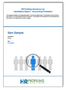 Psychometric profile report sample