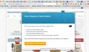 Helpful lightbox advising shipping information