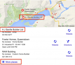 Local google search showing map and address