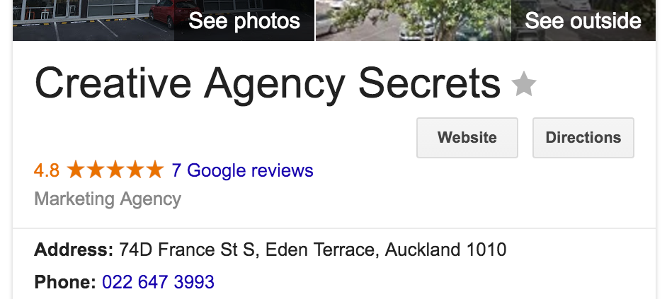 Natural Search Listing on Google