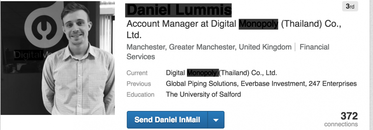 bad linkedin, location obscure, fake profile