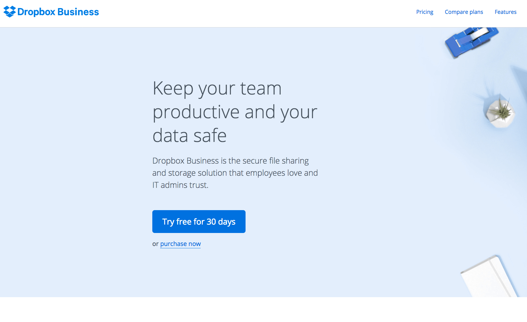Dropbox Business Page