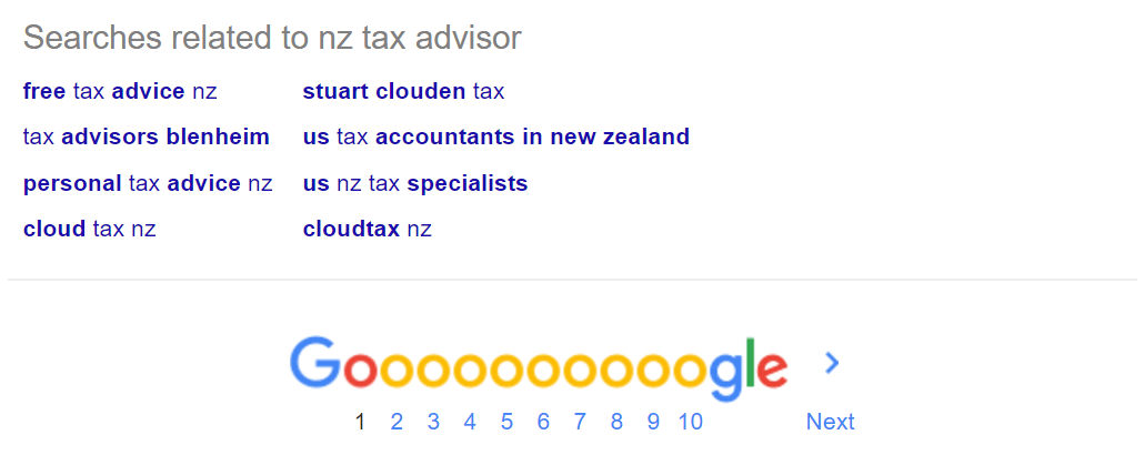 LSI keywords for NZ Tax Advisor