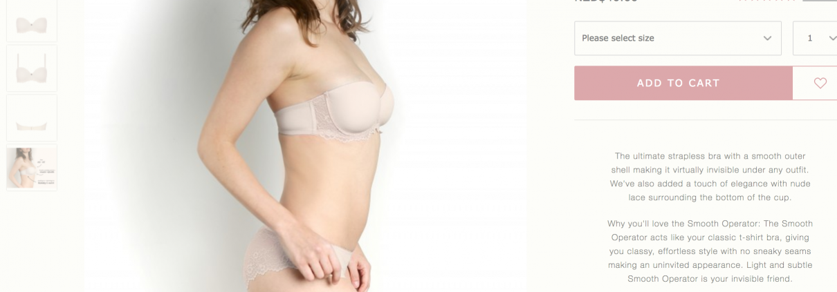 rose thorne, buy bras online, Sue Dunmore, Rose and Thorne lingerie, good value strapless bra