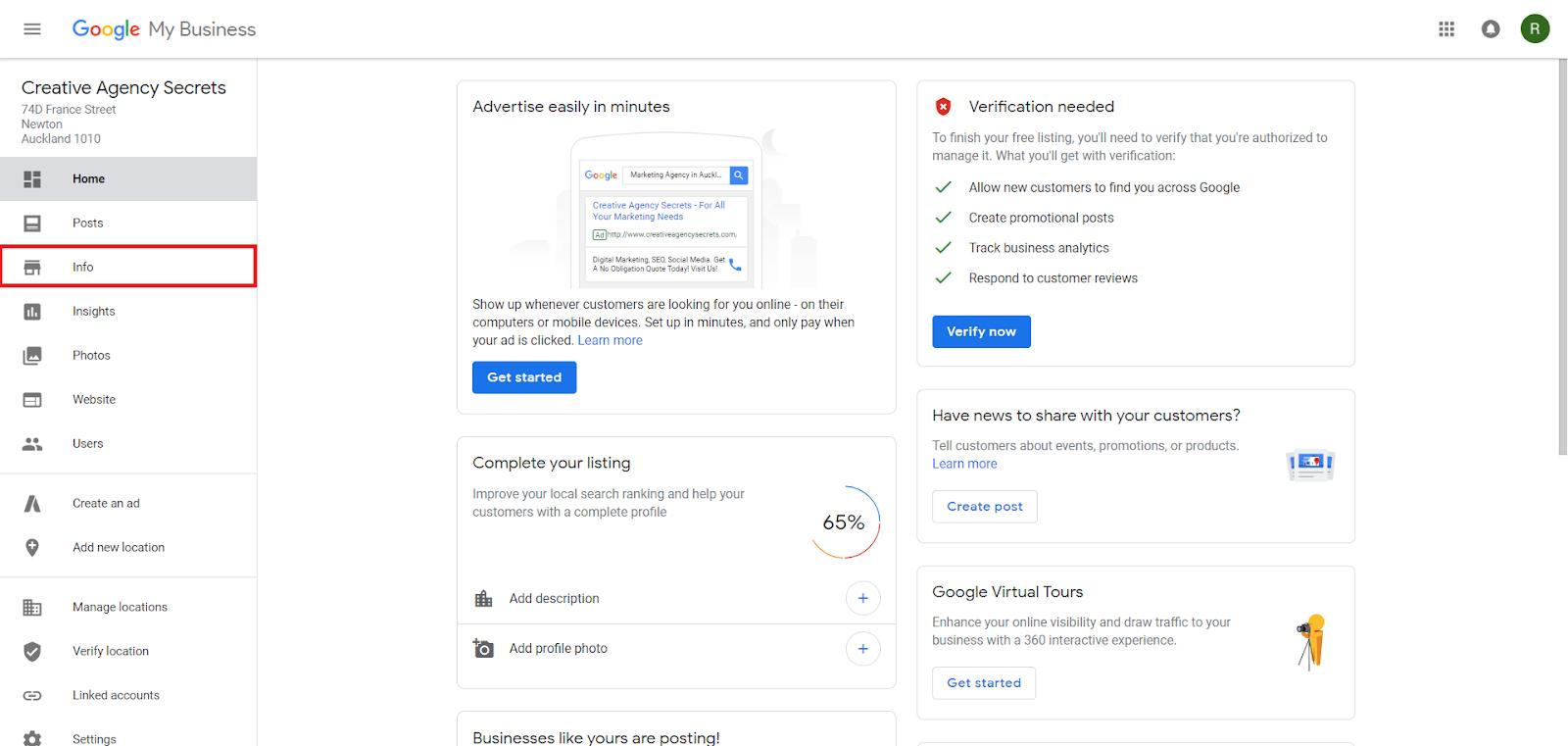 Google My Business Portal