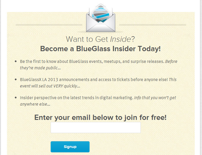 Persuasive newsletter sign-up copy