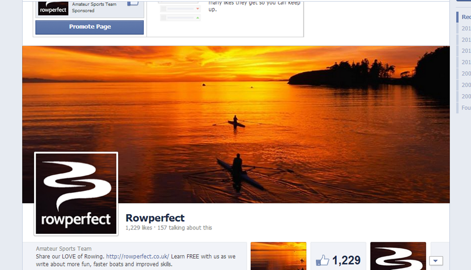 Screenshot of Rowperfect Facebook page