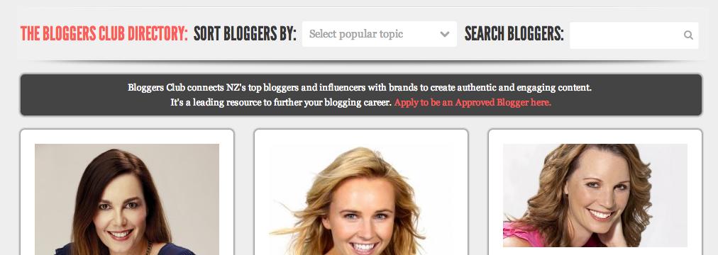 Bloggers Club NZ website
