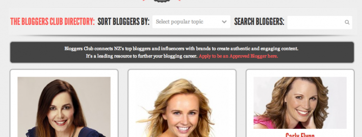 Bloggers Club NZ website