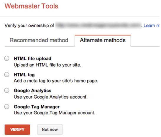 Google Webmaster Tools Verification
