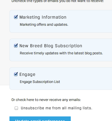 Email Preferences check box