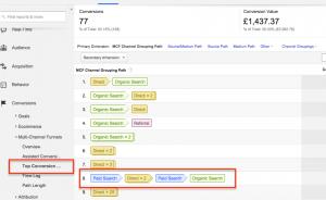 Top Conversion Paths in Google Analytics
