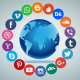 Social Media in a circle around the earth