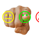 neutral face, happy face, sad face with finger pointing at happy face