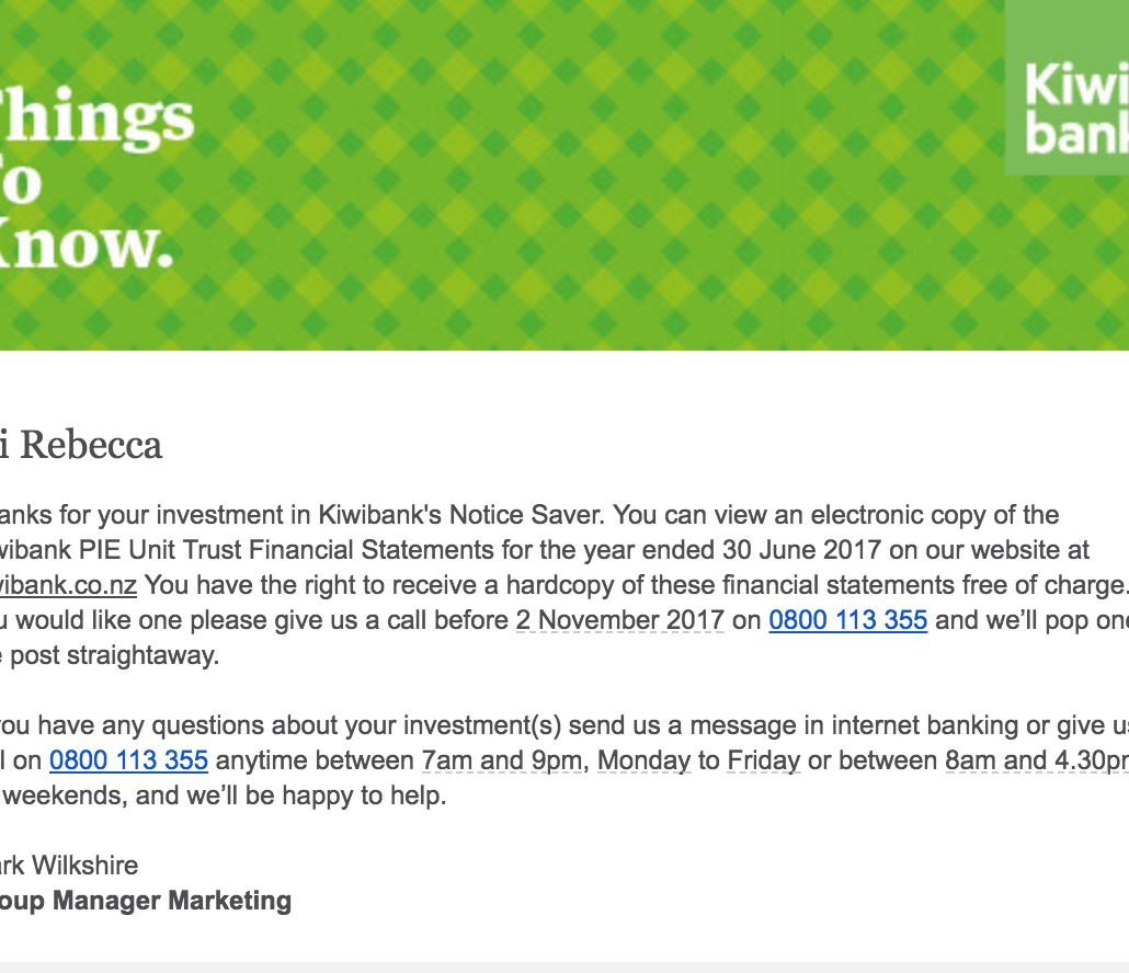 Kiwibank email text confuses