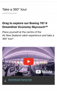 Air NZ Skycouch video and 360 tour - with transcript
