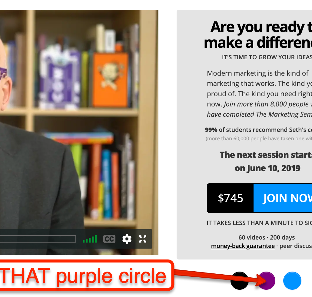Seth Godin, purple Circle, marketing easter egg, link hidden,