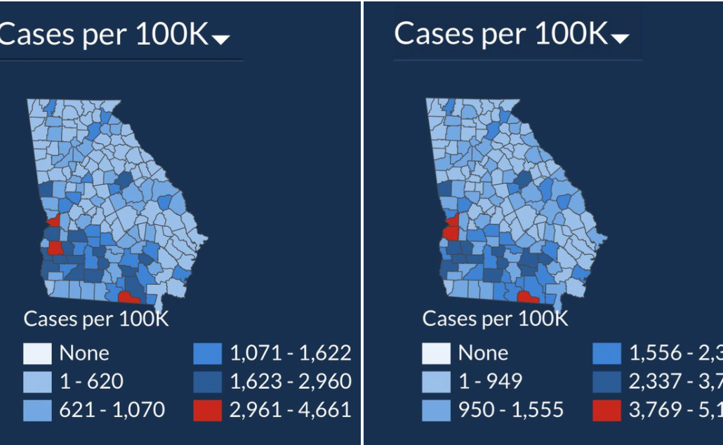 State of georgia, covid 19 cases, dodgy data