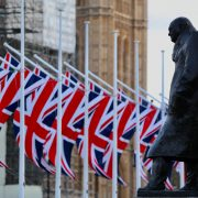 churchill, union jack flags,
