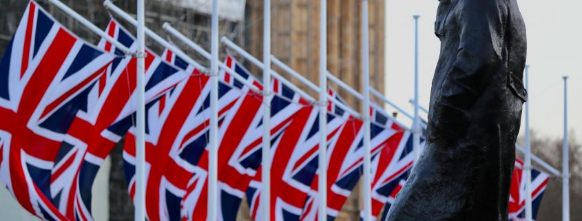 churchill, union jack flags,