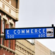 Ecommerce, road sign commerce street