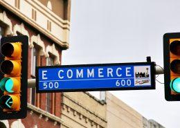 Ecommerce, road sign commerce street